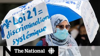 Protesters gather to oppose Quebec's religious symbols ban on anniversary of Bill 21