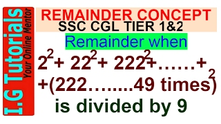 Remainder Theorem for SSC CGL| Number System| Algebra| For SSC CGL|FCI|CAT|Railway