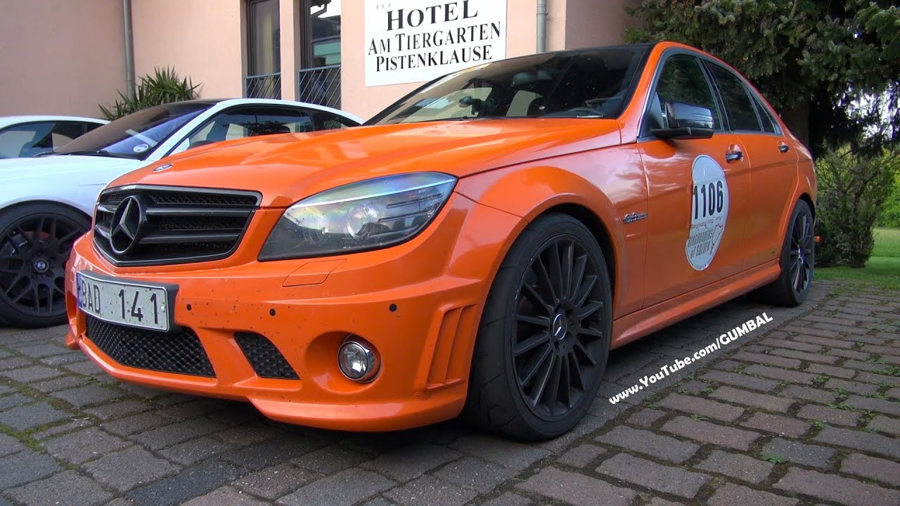 Orange Mercedes-Benz C63 AMG - V8 Exhaust Notes! - YouTube