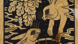 Printing on Wood, Linocut print with epoxy resin finish by Emils Salmins