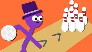 Zombey wirft mit Bowlingkugeln um sich.