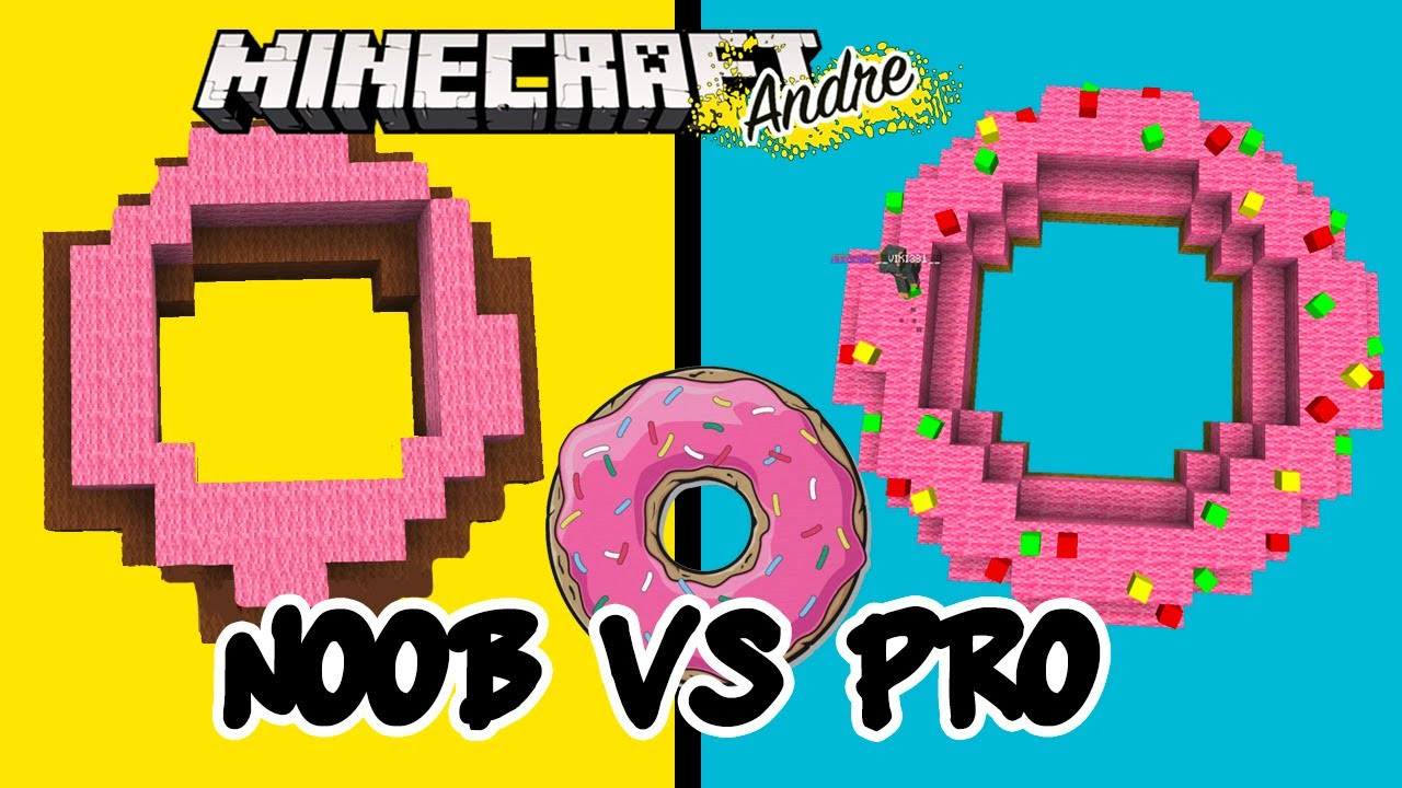 Noob vs Pro haciendo una dona | Minecraft Andre reto challenge Build Battle