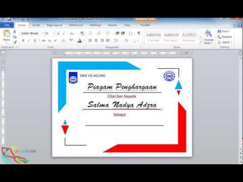 Membuat Piagam Sertifikat Dengan Microsoft Word Youtube