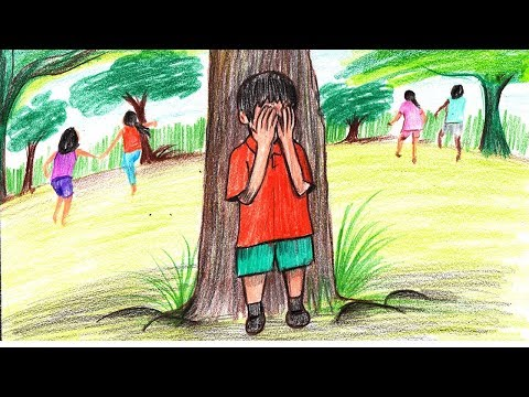 How To Draw A Kids Playing Hide And Seek Game Step By Step