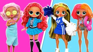 LOL OMG Doll Story, Travel Routine , New School , Vacation & Sleepover Videos