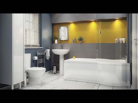 45 Beautiful Bathrooms with a Color Combination Gray and Yellow