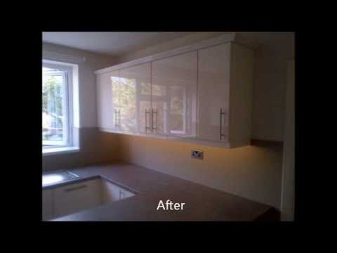 Fitted Kitchen Splashbacks Before and After Pictures by Modern Kitchen Makeovers