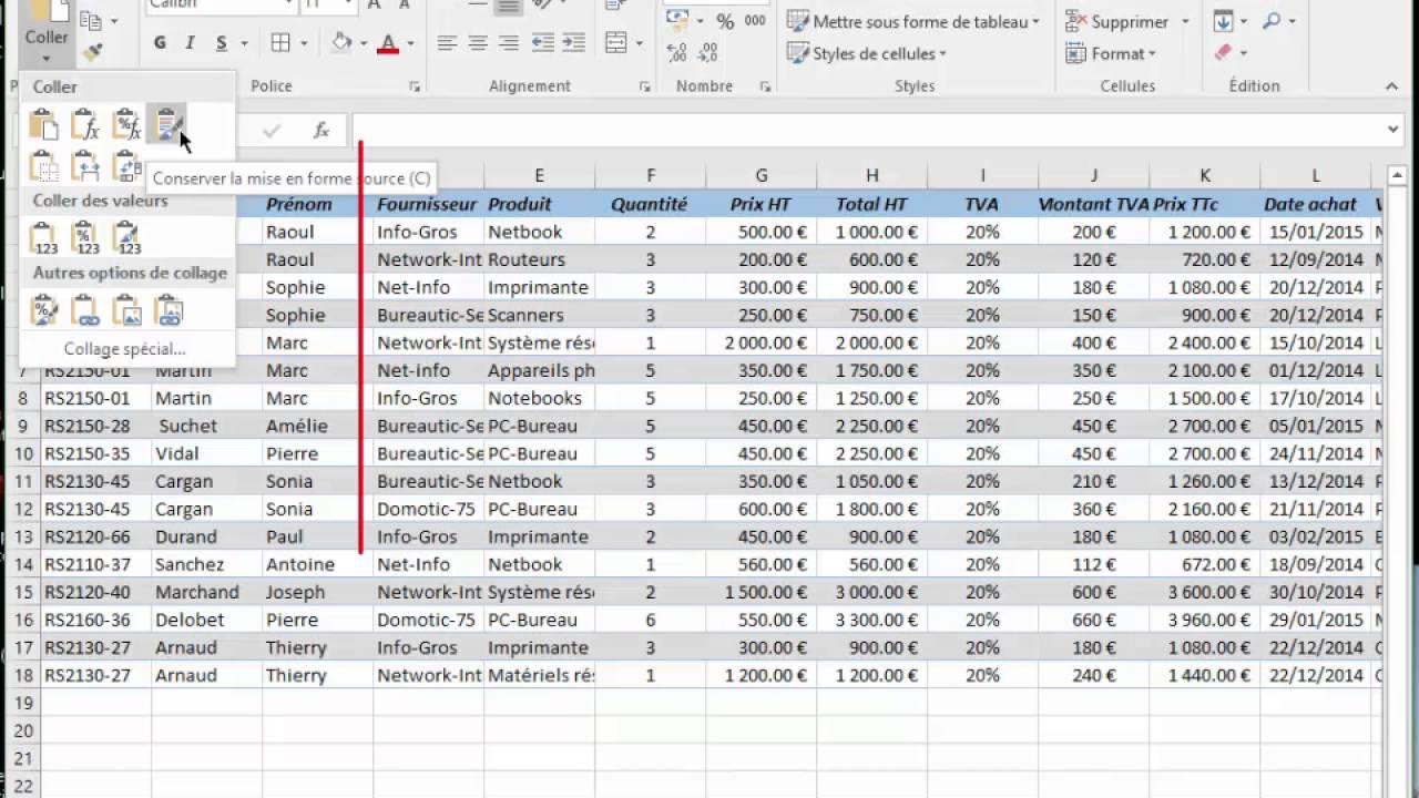 Excel Selectionner Couper Copier Coller Un Tableau Youtube
