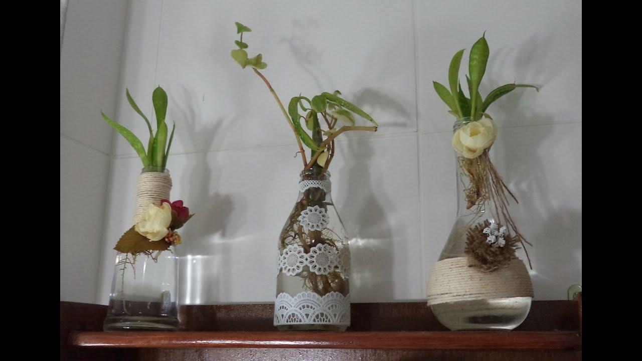 Diy PAP Decoraç u00e3o de 3 garrafas (vidro) com barbante, flor de juta e toalhinha Graça  -> Decoração Em Garrafas Com Barbante