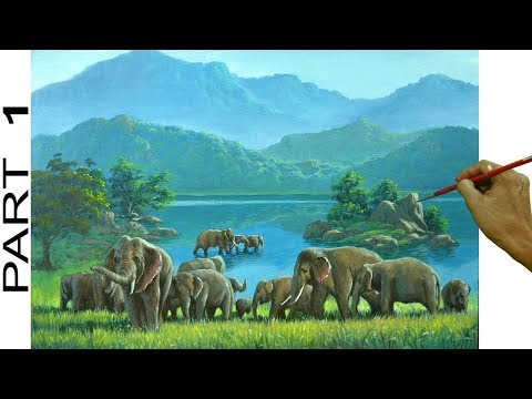 Landscape Painting with lake and Elephants | Acrylic Painting Tutorial | Part 1