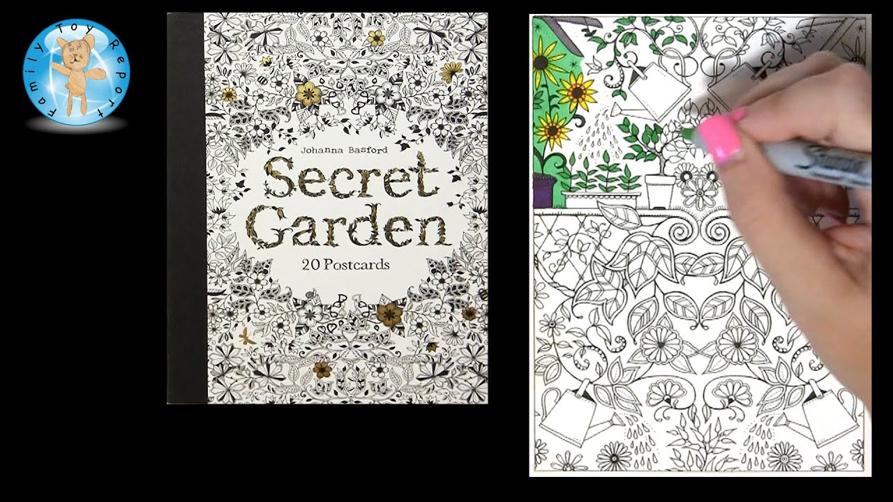 Secret Garden By Johanna Basford Adult Coloring Book Postcards Watering Cans