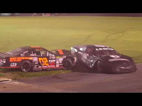 Bowman Gray Stadiums' Amber Lynn02 and Brad Lewis 16 get into it in the 2017 Season Finale