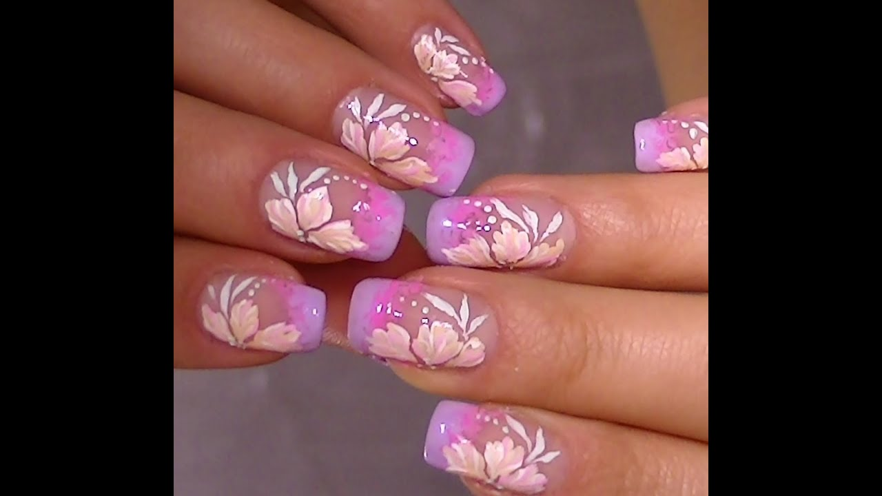 Delicate nail art,video tutorial sweet flower design - YouTube