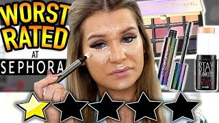 Testing EXTREMELY LOW RATED Sephora Makeup! Soo Bad...