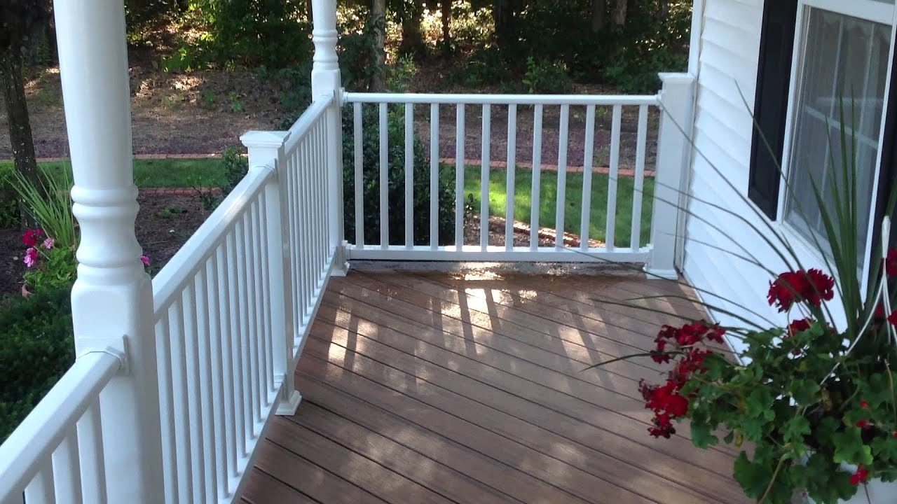 Paddy o deck trex tiki torch front porch youtube for Composite porch decking