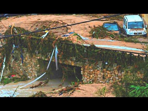 Floods and Landslides Destroyed roads. Sirampog, Brebes, Java, Indonesia. [subtitles] Disasters