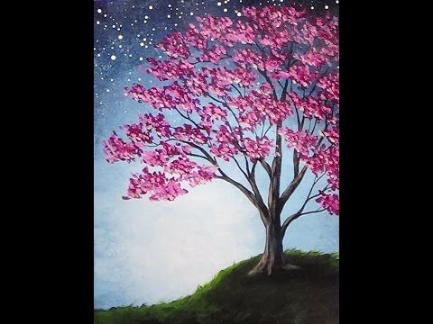 Blossoming Tree Acrylic Painting with Sponge Painted Background Tutorial