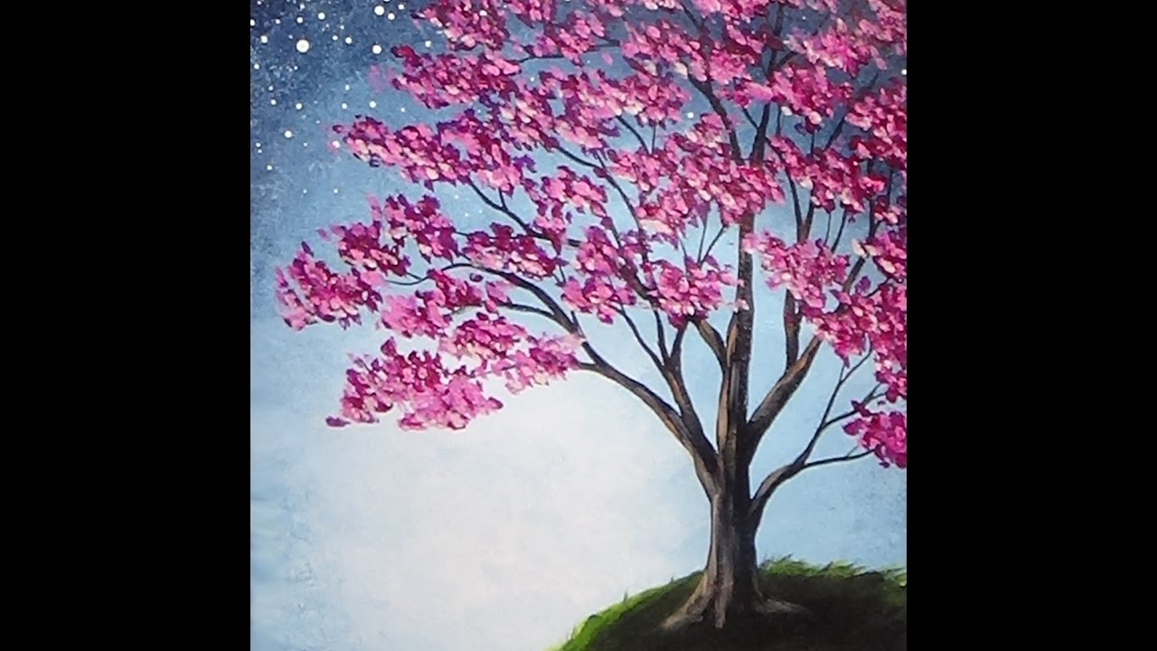 Blossoming Tree Acrylic Painting With Sponge Painted