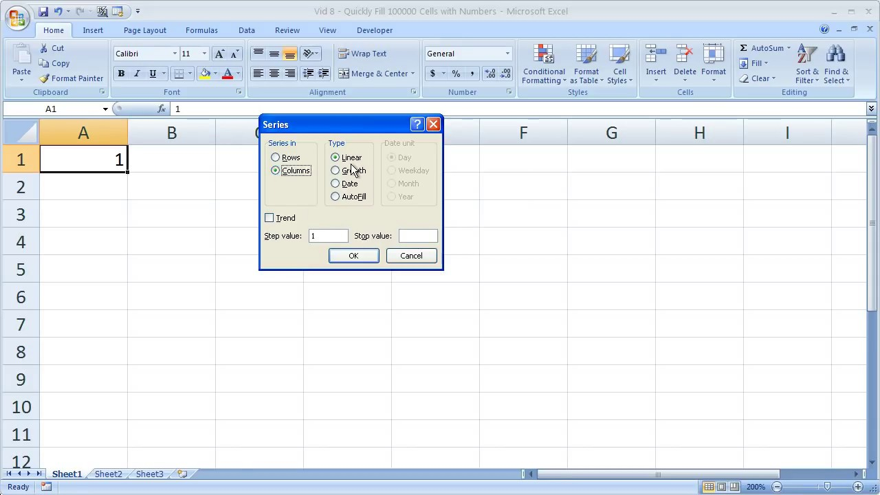 Excel Tips - Quickly Fill Series of Numbers in a Few Seconds Fill Command