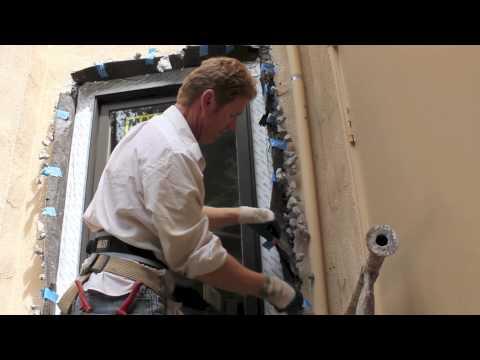 Installing new windows new plaster finish