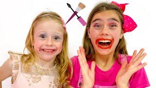 Nastya e Stacy brincam com brinquedos de maquiagem e encontram um presente de Halloween
