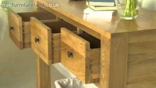 Dakar Solid Oak 3 Drawer Console / Hall Table From Oak Furniture Land