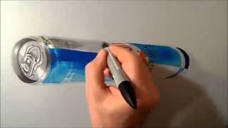 Drawing  3D Levitating Red Bull Can, By Adilla Ramadhan