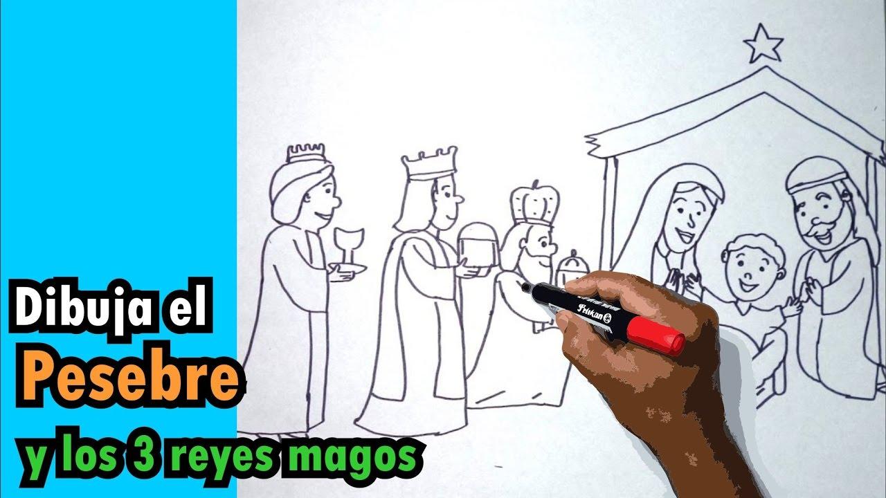 Cómo Dibujar Al Pesebre Paso A Paso Niño Dios María José Y Los 3