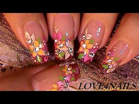 bouquet of fall flowers nail art
