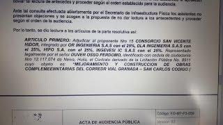 Fue adjudicada la pavimentación de la Vía Granada-San Carlos