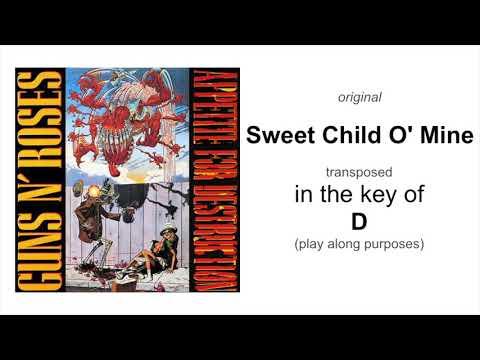Guns N' Roses - Sweet Child O' Mine - Standard Tuning Backing Track - Key Of D