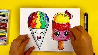 Как нарисовать МОРОЖЕНОЕ Радугу / Уроки рисования для детей