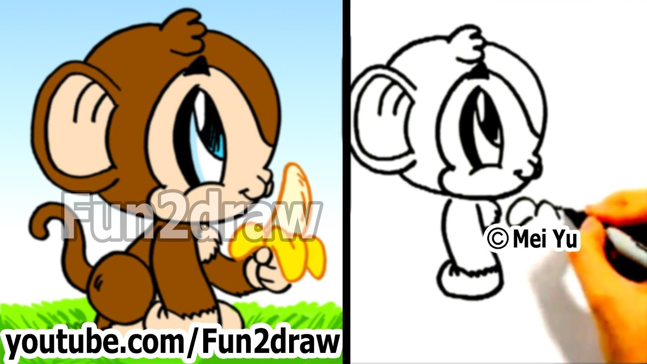 how to draw a cartoon monkey drawing tutorials draw animals
