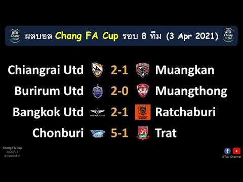 ผลบอลช้างเอฟเอคัพ รอบ8ทีม : บุรีรัมย์ฉลุย เชียงราย,บียูเฉือนหวิว ชลบุรีใส่ไม่ยั้ง(3/4/21)