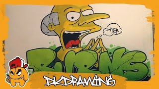 How to draw graffiti letters Mr.Burns & Mr. Burns Character (The Simpsons)