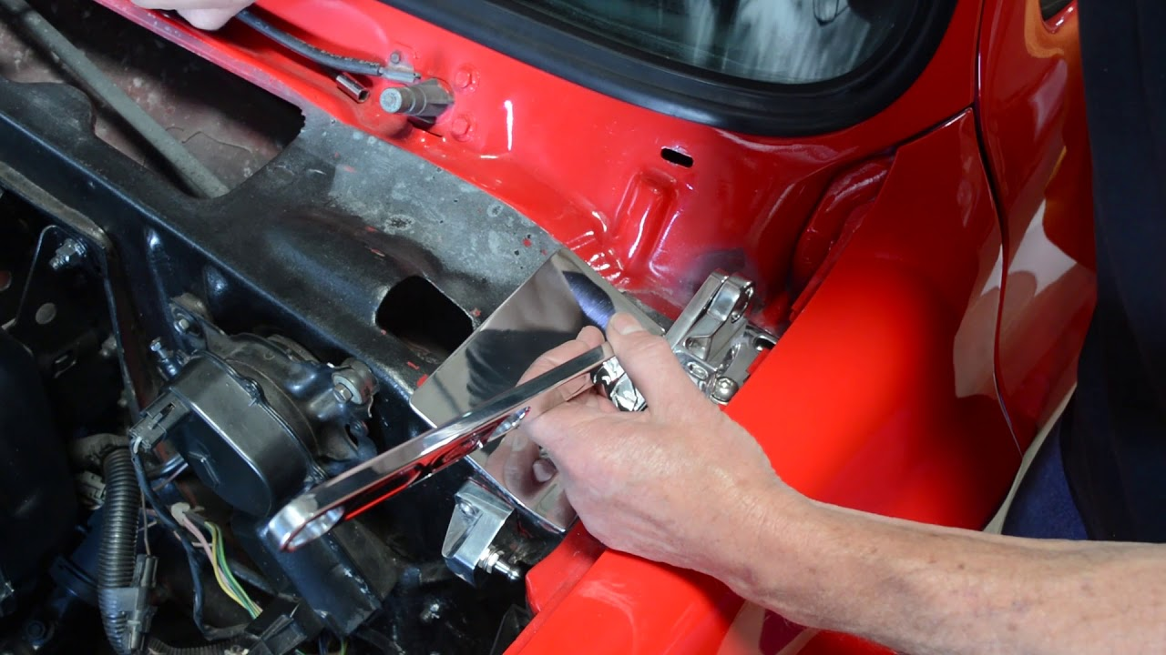 eddie motorsports 81 87 chevy truck hood hinge installation [ 1280 x 720 Pixel ]
