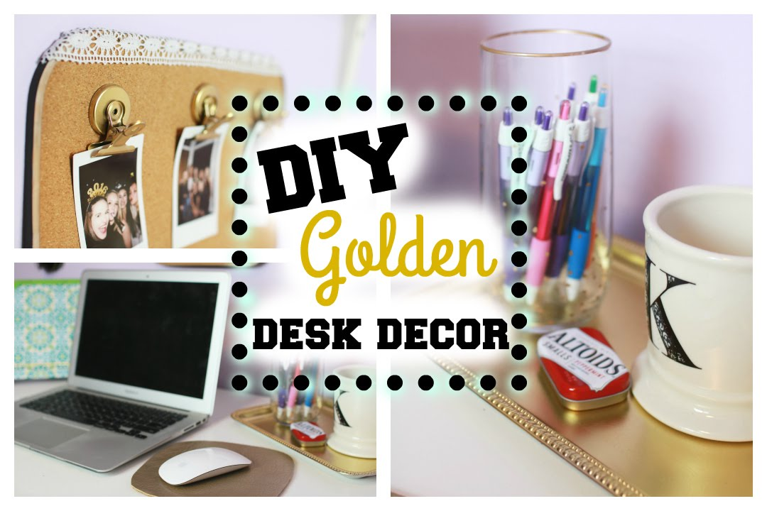 Diy Gold Desk Decor Amp Organazation From Dollar Tree