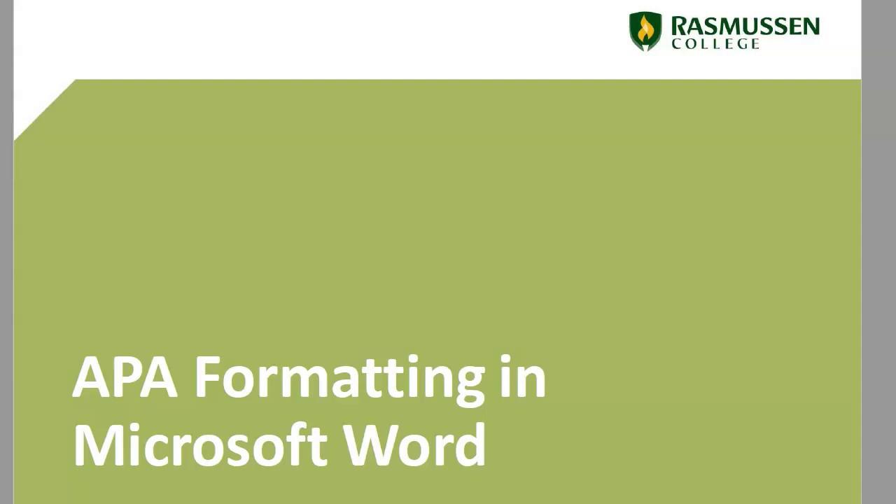Microsoft Word Videos - APA Guide - RasGuides at Rasmussen