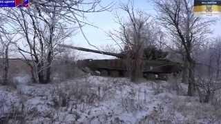 Танк Т 64 на передовой отбивает атаки ВСУ  28.01.2015  Ополченцы, Новороссия