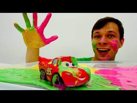 Видео, Игрушки Тачки  Цветные гонки для Молния Маквин  Видео для детей проМашинки Игры для мальчиков