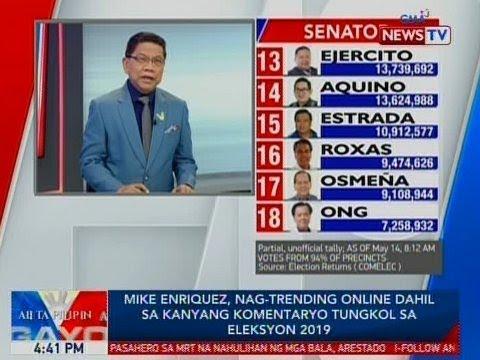 BP: Mike Enriquez, nag-trending online dahil sa kanyang komentaryo tungkol sa Eleksyon 2019