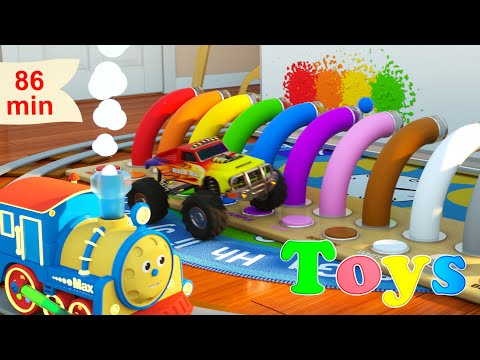 Learn Numbers, Shapes, Colors and more with Max the Glow Train   8 Cartoons with Max and Friends!