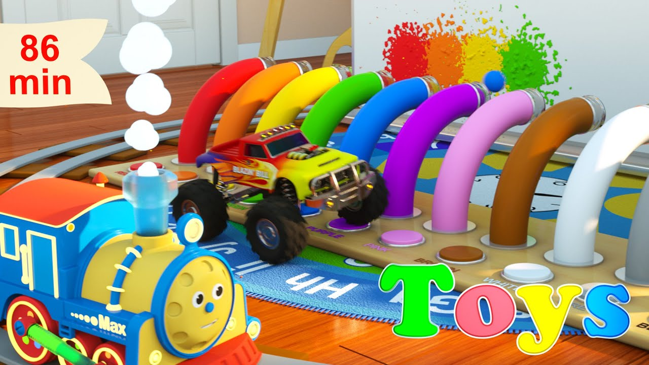 Learn Numbers, Shapes, Colors and more with Max the Glow Train | 8 Cartoons with Max and Friends!