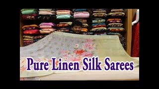 Pure Linen Silk Sarees / Floral Print / Just Rs. 1599 - 1955 /- Only