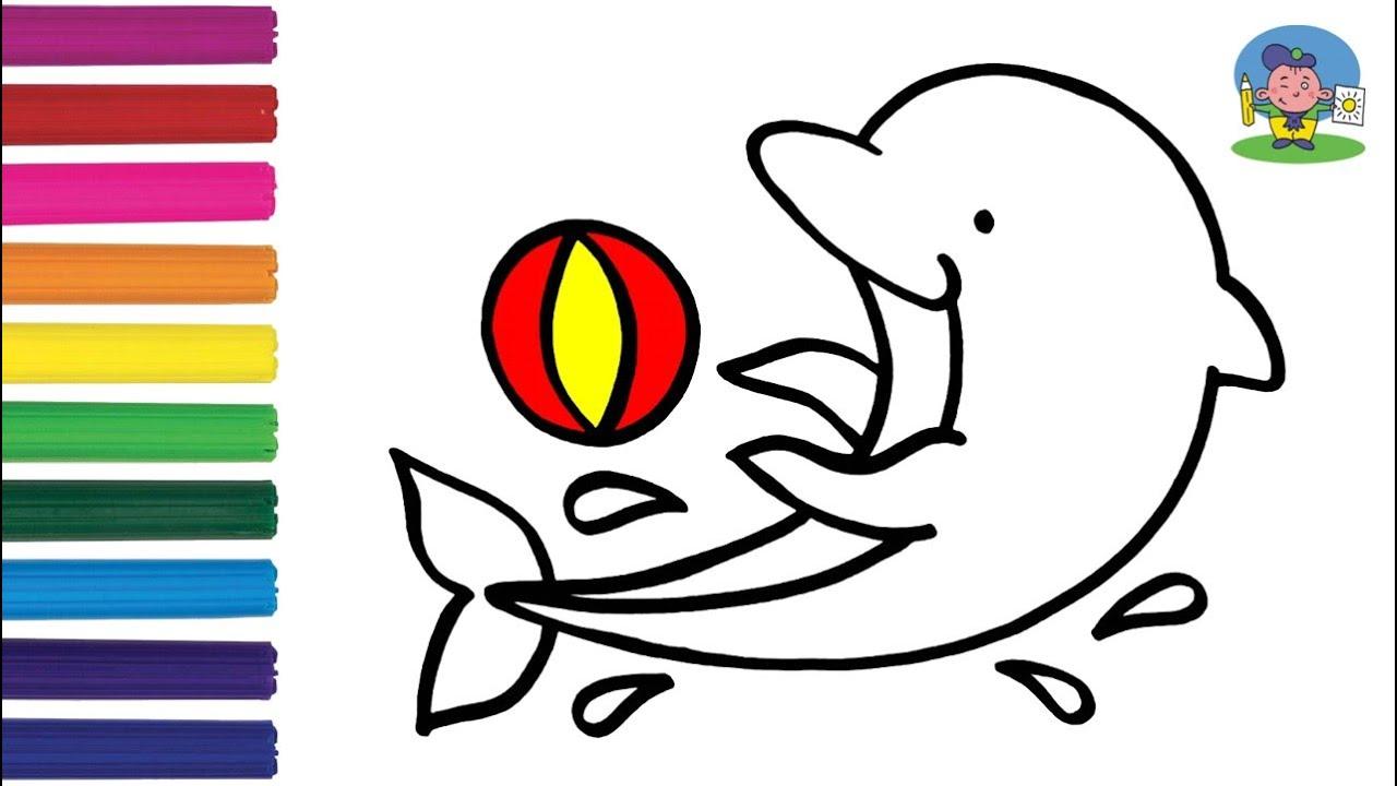 Как нарисовать ДЕЛЬФИНА / Раскраска ДЕЛЬФИН малышам ...
