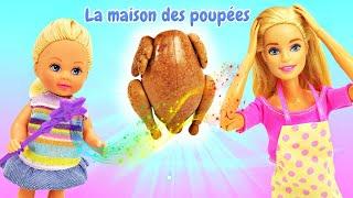 Barbie et Evi cuisinent.  Evi et la baguette magique. Vidéo en français.
