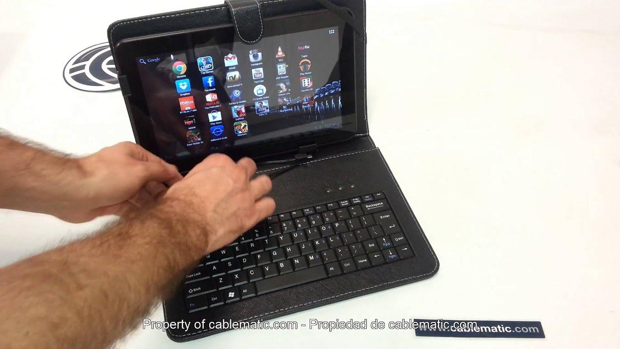 Cartera de piel universal con teclado funda para tablet de 7 8 9 7 distribuido por cablematic - Fundas con teclado para tablet ...