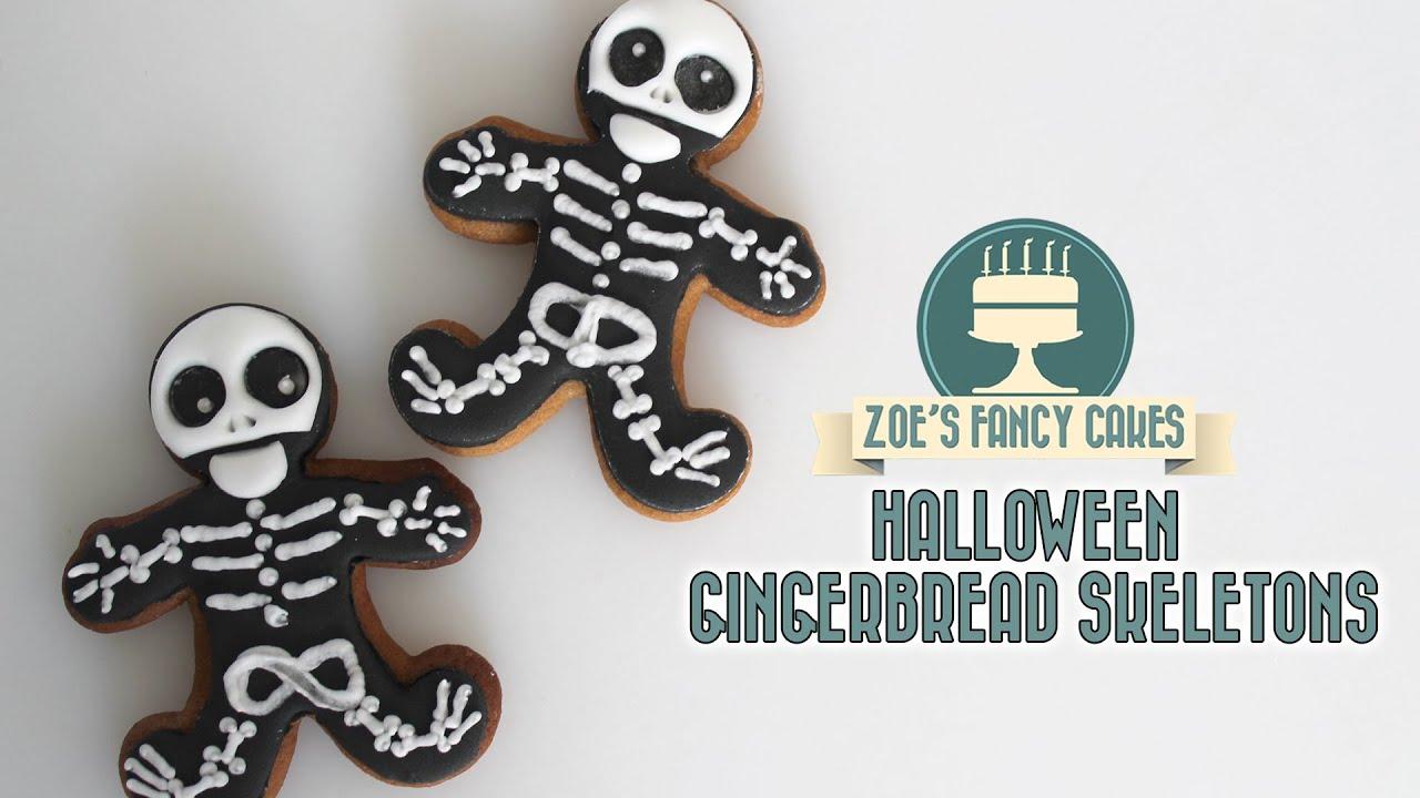 halloween skeleton cookie using royal icing youtube - Halloween Gingerbread Cookies