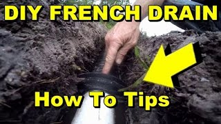 DIY French Drain, Costs, How to Tips, Complete Install, Trench, Pipe Connection, backfill,