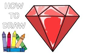 How To Draw a DIAMOND - Easy Step-by-step drawing lesson for kids
